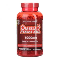 Holland & Barrett Omega 3 Fish Oil Concentrate 250 Capsules 1000mg BBE: DEC 2020