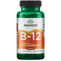 Swanson Vitamin B-12 500 Mcg 250 Caps BBE: JUL 2021
