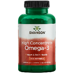 Swanson Efa High Concentrate Omega-3 120 Softgels BBE: JUL 2021